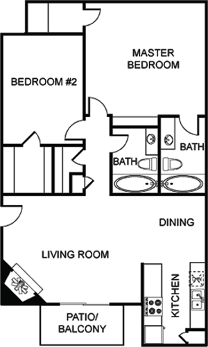 E - Two Bedroom / Two Bath - 1,020 Sq. Ft.*