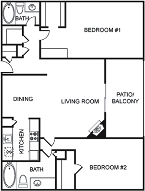 F - Two Bedroom / Two Bath - 1,288 Sq. Ft.*