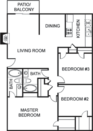 H - Three Bedroom / Two Bath - 1,387 Sq. Ft.*