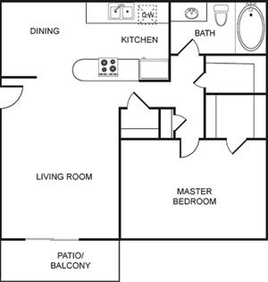 A - One Bedroom / One Bath - 747 Sq. Ft.*