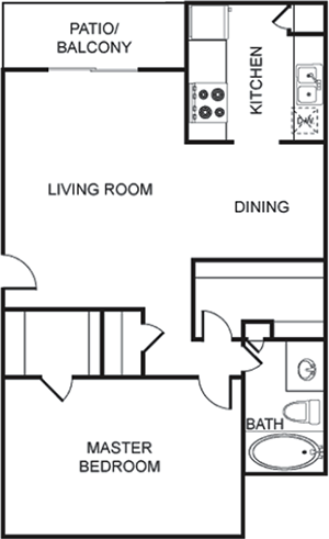 B - One Bedroom / One Bath - 759 Sq. Ft.*