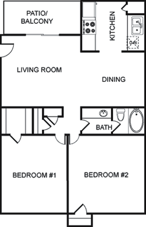 D - Two Bedroom / One Bath - 911 Sq.Ft.*